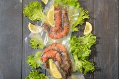 Sous Vide cooking concept. Vacuum packed ingredients arranged on wooden dyed background. Top View stock photo