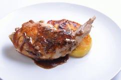 Sous Vide kaninben med det sous och grillade äpplet på den vita plattan royaltyfri bild