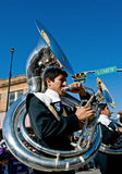 Sousaphone players in parade stock photography