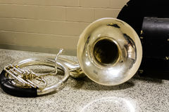 Sousaphone resting before the start of marching band rehearsal. The sousaphone resting before the start of marching band rehearsal Stock Photo