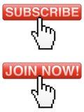 Souscrivez et joignez les boutons illustration de vecteur