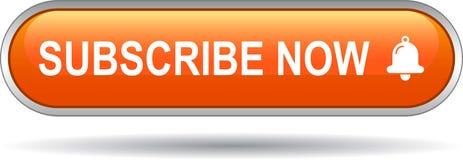 Souscrivez maintenant l'orange de bouton de Web d'icône Photo stock