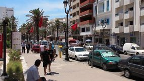 Sousse city in Tunisia. TUNISIA, SOUSSE, JULY 7, 2010: People in the street in Sousse, Tunisia, July 7, 2010 stock footage