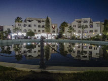 Sousse by night. The fountain and building with shops in the night, Sousse. Tunisia , Africa stock photo