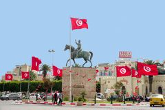 Equestrian Statue of Habib Bourguiba in Sousse, Tunisia royalty free stock photos