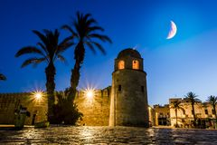 Fortress Ribat in Medina Sousse in the moonlit night Stock Photos
