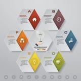 Soustrayez 6 éléments modernes d'infographics de diagramme de présentation d'étapes Photographie stock libre de droits