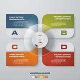 Soustrayez 4 éléments modernes d'infographics de diagramme de présentation d'étapes Image stock
