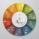 Soustrayez 10 éléments modernes d'infographics de graphique circulaire d'étapes Illustration de vecteur Photos stock