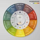 Soustrayez 10 éléments modernes d'infographics de graphique circulaire d'étapes Illustration de vecteur illustration libre de droits