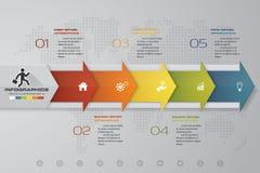 Soustrayez 5 infographis d'étapes avec des éléments de forme de flèche Illustration de vecteur Photographie stock libre de droits