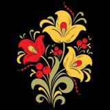 Soustrayez la fleur stylisée, illustration de vecteur, dessin de bouquet Fleur décorative dans des couleurs rouges, jaunes et ver Image stock