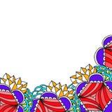 Soustrayez la frontière peinte avec le grand art de zen de fleurs Images stock