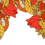 Soustrayez la frontière peinte avec le grand art de zen de fleurs Photos stock