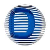 Soustrayez la sphère posée avec la lettre cutted D d'isolement sur le fond blanc Photo libre de droits