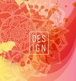 Soustrayez le fond coloré de fleur avec les cercles et le mandala Image stock