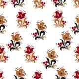 Soustrayez le modèle sans couture de fleur stylisée, fond de vecteur Fleur, baies et boucles décoratives rouges, oranges, vertes  Images stock