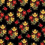 Soustrayez le modèle sans couture de fleur stylisée, fond de vecteur Fleur rouge, jaune, de vert, baies et boucles décoratives su Images stock