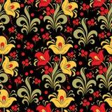 Soustrayez le modèle sans couture de fleur stylisée, fond de vecteur Fleur rouge, jaune, de vert, baies et boucles décoratives su Photographie stock libre de droits