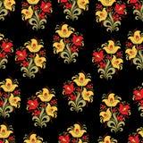 Soustrayez le modèle sans couture de fleur stylisée, fond de vecteur Fleur rouge, jaune, de vert, baies et boucles décoratives su Photo libre de droits
