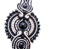 Soutache ornament. Detail with blank space isolated on white Stock Image