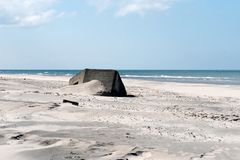 Soute de la deuxième guerre mondiale sur la côte ouest du Jutland photo stock