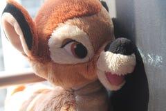 Soutenez et adulez le jouet se reposant par la fenêtre dans les ombres Image libre de droits