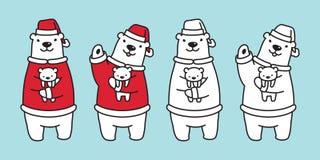 Soutenez l'illustration de personnage de dessin animé de nounours de Santa Claus Hat de Noël d'ours blanc de vecteur illustration stock
