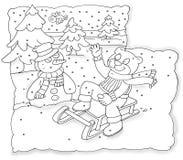 Soutenez la glissière ascendante qui salue l'échine de bonhomme de neige colorant les enfants humoristiques illustration libre de droits