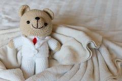 Soutenez la poupée dans l'amour, les ours de jouet avec le mariage, deux que le nounours concerne le Th Photo libre de droits