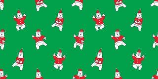 Soutenez le fond de papier peint d'isolement par écharpe sans couture de danse d'ours blanc de Santa Claus Hat de vecteur de Noël illustration libre de droits