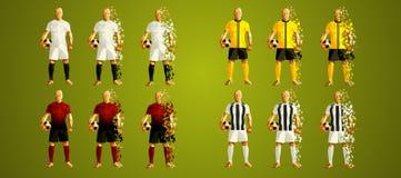 Soutenez le groupe H, les uniformes colorés de footballeurs, 4 t de ligue du ` s illustration de vecteur