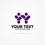 Soutenez le logo de la communauté consistant en tant que deux personnes heureuses avec des mains Images libres de droits