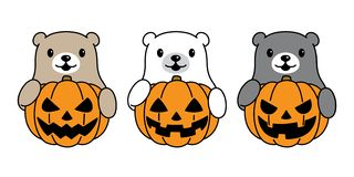 Soutenez le symbole d'illustration de logo d'icône de personnage de dessin animé de Halloween de potiron d'ours blanc de vecteur illustration stock