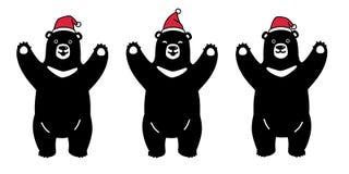 Soutenez le symbole de noir d'illustration de logo d'icône de personnage de dessin animé de Santa Claus Xmas Hat de Noël d'ours b illustration libre de droits