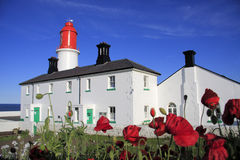 Souter Lighthouse and Poppies. The distinctive red and white of Souter Lighthouse and Foghorn at Whitburn,  South Tyneside. Taken from the garden in the late Royalty Free Stock Images