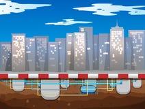 Souterrain de conduite d'eau de la ville illustration libre de droits