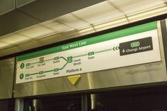 Souterrain de MRT de Singapour Images libres de droits