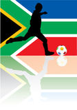 South Africa. Soccer player wiyh south africa flag Stock Image