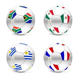 South Africa 2010 - Flags and Balls Group A. Four footballs/soccer balls with the flags of South Africa, Mexico, Uruguay and France - world championship South Royalty Free Stock Image