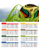 South Africa 2010 Match Schedule. And official ball Stock Images
