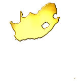 South Africa 3d Golden Map Royalty Free Stock Photo