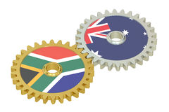 South Africa and Australia relations concept, flags on a gears. 3D rendering isolated on white background Royalty Free Stock Photography