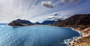 South Africa bay view. Panoramic landscape of Capetown, aerial view on Atlantic sea, majestic scene of mountains, beauty of nature concept stock images