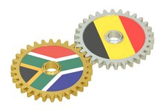 South Africa and Belgium relations concept, flags on a gears. 3D. Rendering isolated on white background Stock Photography