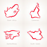 South Africa, Cameroon, Guinea-Bissau and South Sudan - Outline Map. Outline map of South Africa, Cameroon, Guinea-Bissau and South Sudan marked with red line Stock Photo