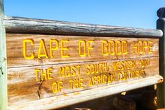 South Africa - 2011: Cape Of Good Hope signboard royalty free stock photography