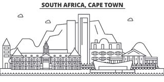 South Africa, Cape Town Architecture Line Skyline Illustration. Linear Vector Cityscape With Famous Landmarks, City