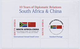 South Africa and China Stamps, Diplomatic Relations. South Africa and China, ten year of diplomatic relations stamps, international airmail and standard postage Royalty Free Stock Photography