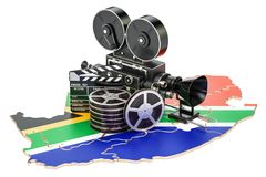 South Africa cinematography, film industry concept. 3D rendering. Isolated on white background Stock Photography